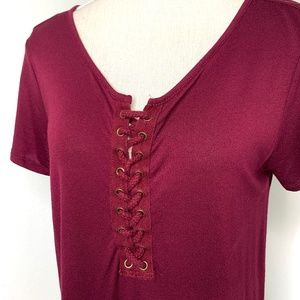 Women's Short Sleeve Top Maroon